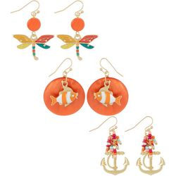 Coral Bay Orange Fish, Dragonfly & Anchor Earring Set