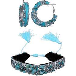 Jules B 2 Pc Aqua Chip & Stone Hoop & Bracelet Set
