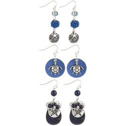 Coral Bay 3-pc. Navy Blue Sea Life Earring Set