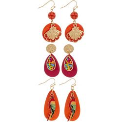 Coral Bay 3-pc. Pink & Orange Tropical Earring Set
