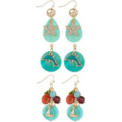 Coral Bay 3-pc. Blue Dolphin & Starfish Earring Set