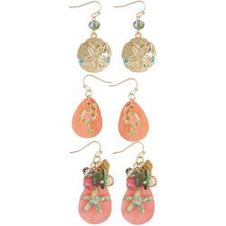 Coral Bay 3-pc. Flamingo, Starfish & Sandollar Earring Set