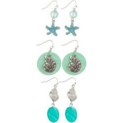 Coral Bay 3-pc. Mint Green & Aqua Blue Seashell Earring Set