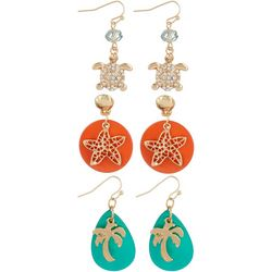 Coral Bay 3-pc. Sea Turtle, Palm & Starfish Earring Set