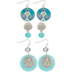 Coral Bay 3-pc. Blue Shell Disc & Fish Earring Set