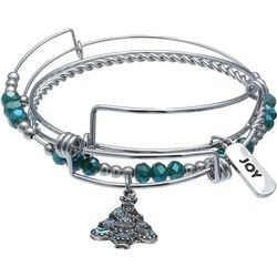 Brighten the Season Holiday Tree Charm Bangle Bracelet Set