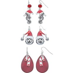 Brighten the Season 3-pc. Holiday Seahorse & Cat Earring Set