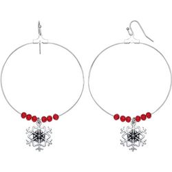 Brighten the Season Snowflake Hoop Earrings