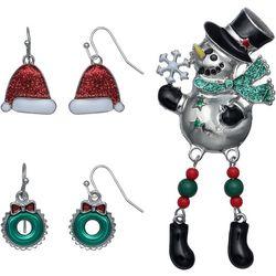 Brighten the Season 3-pc. Holiday Earrings & Snowman Pin Set