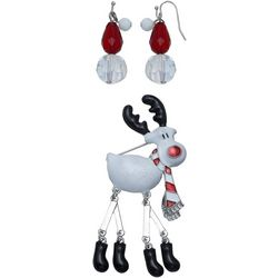 Brighten the Season Reindeer Pin & Earring Set