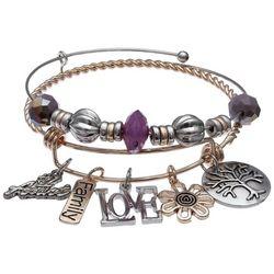 Jules B Two Tone Love #1 Aunt Bangle Bracelet Set