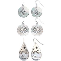 Coral Bay 3 Pair Coastal Shell Turtle Earring Set