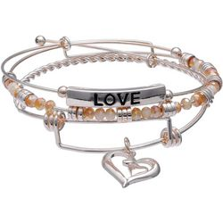 Jules B Love & Heart Beaded Charm Trio Bangle Set