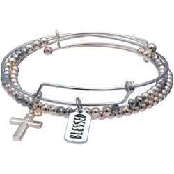Jules B Two Tone Cross & Blessed Trio Bangle Set