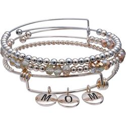 Jules B MOM Rose & Silver Tone Bead Trio Bangle Se