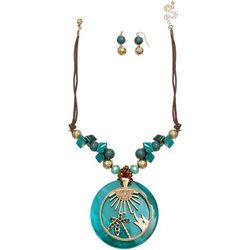 Paradise Shores Teal Shell & Sun Necklace Set
