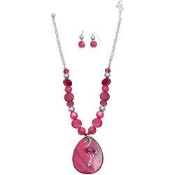 Paradise Shores Cherry Flamingo Shell Necklace Set
