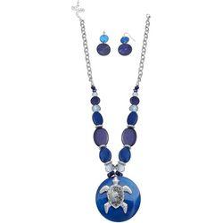Paradise Shores Blue Shell & Turtle Necklace Set