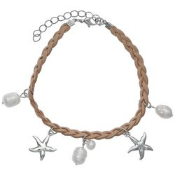 Jules B Faux Pearl & Starfish Charm Braided Anklet