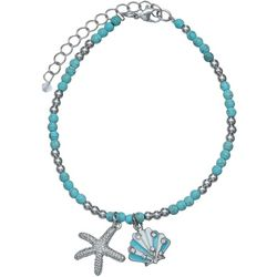 Jules B Sea Life Charms Turquoise Blue Beaded Anklet