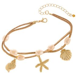 Jules B 2 Row Suede & Seashell Charm Anklet