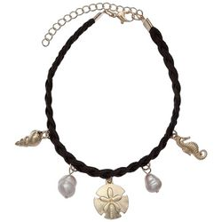 Jules B Freshwater Pearl & Sea Life Charm Braided Anklet