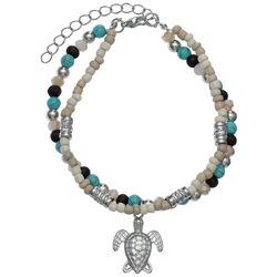 Jules B Sea Turtle Charm Beaded Anklet