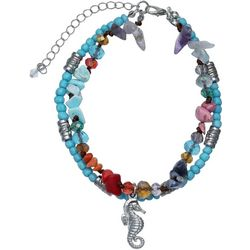 Jules B Seahorse Charm & Turquoise Blue Anklet