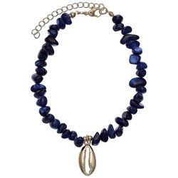 Jules B Dark Blue Chip & Shell Charm Anklet