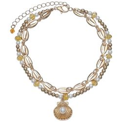 Jules B Faux Pearl & Gold Tone Shell Charm Beaded Anklet
