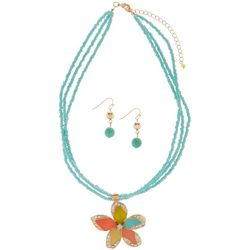 Paradise Shores Flower Pendant Necklace Set