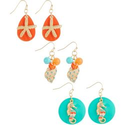 Coral Bay 3-pc. Coastal Shell Seahorse Earring Set