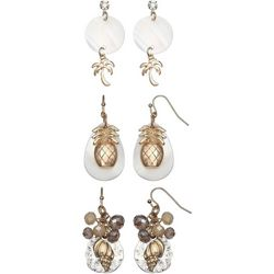 Coral Bay Trio Boxed Tropical Gold Tone Earring Set