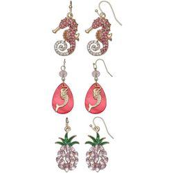 Coral Bay Trio Boxed Coastal Dangle Pink Earring Set