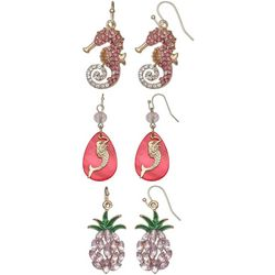 Coral Bay Trio Boxed Coastal Dangle Pink Earring Set