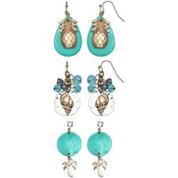 Coral Bay Trio Boxed Tropical Aqua Earring Set