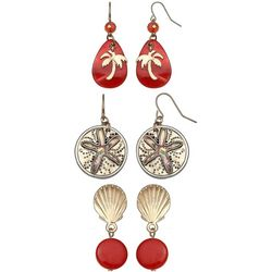 Coral Bay Trio Boxed Coastal Coral Earring Set