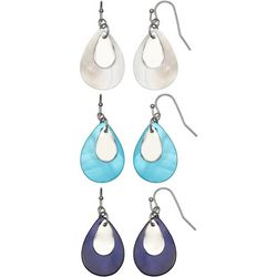 Coral Bay Trio Boxed Genuine Shell Teardrop Earring Set