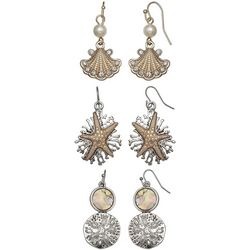 Coral Bay Trio Boxed Coastal Two Tone Earring Set