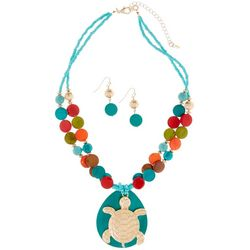 Paradise Shores Multi Shell & Sea Turtle Necklace Set