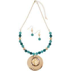 Paradise Shores Abalone Shell Gold Tone Pendant Necklace Set
