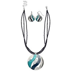 Paradise Shores Blue Multi Seed Bead Necklace Set