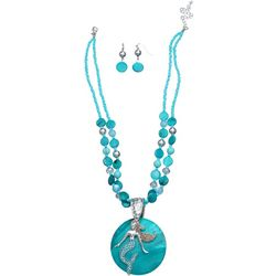 Paradise Shores Shell & Mermaid Pendant Necklace Set