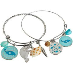 Chubby Mermaids 2-pc. Manatee Charm Bangle Bracelet Set