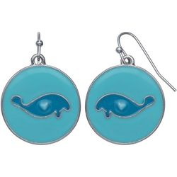 Chubby Mermaids Blue Manatee Disc Drop Earrings
