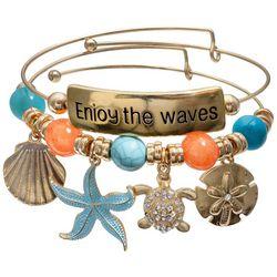 Jules B 2-pc. Enjoy The Waves Turtle Bangle Bracelet Set