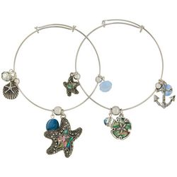 Jules B 2-pc. Blue Multi Starfish Bangle Bracelet
