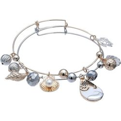 Jules B Two Tone Coastal Shell 2 Pc Bangle Set