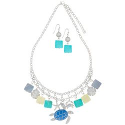 Paradise Shores Shell & Sea Turtle Necklace Set