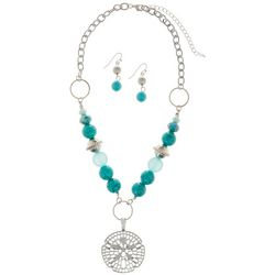 Paradise Shores Aqua Blue Bead & Sanddollar Necklace Set
